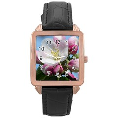 Apple Blossom  Rose Gold Leather Watch  by ADIStyle