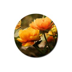 Flowers Butterfly Magnet 3  (round) by ADIStyle
