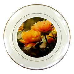 Flowers Butterfly Porcelain Display Plate by ADIStyle