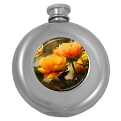 Flowers Butterfly Hip Flask (round)