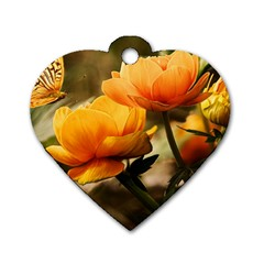 Flowers Butterfly Dog Tag Heart (two Sided) by ADIStyle