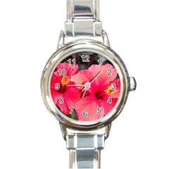 Red Hibiscus Round Italian Charm Watch by ADIStyle