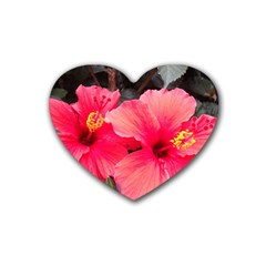 Red Hibiscus Drink Coasters (heart) by ADIStyle