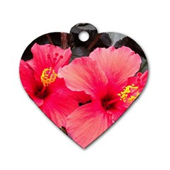 Red Hibiscus Dog Tag Heart (one Sided)
