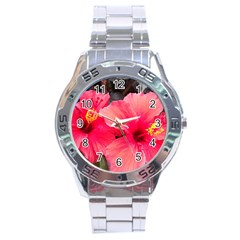 Red Hibiscus Stainless Steel Watch (men s) by ADIStyle