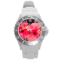 Red Hibiscus Plastic Sport Watch (large)
