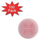 Pink Elegant Damask 1  Mini Button Magnet (100 Pack) by ADIStyle