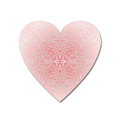 Pink Elegant Damask Magnet (heart) by ADIStyle