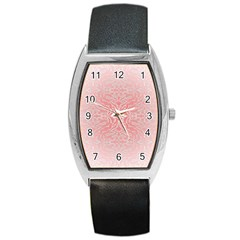 Pink Elegant Damask Tonneau Leather Watch by ADIStyle