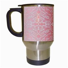 Pink Elegant Damask Travel Mug (white) by ADIStyle