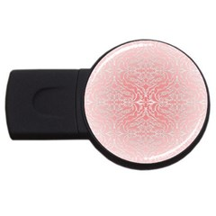 Pink Elegant Damask 4gb Usb Flash Drive (round) by ADIStyle
