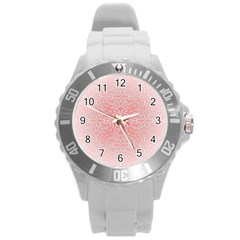 Pink Elegant Damask Plastic Sport Watch (large) by ADIStyle