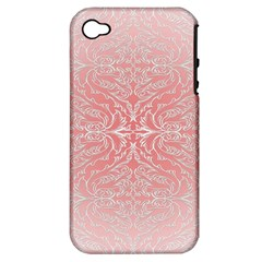 Pink Elegant Damask Apple Iphone 4/4s Hardshell Case (pc+silicone) by ADIStyle