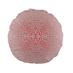 Pink Elegant Damask 15  Premium Round Cushion  by ADIStyle