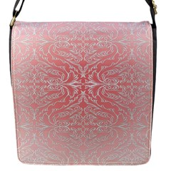Pink Elegant Damask Flap Closure Messenger Bag (small) by ADIStyle