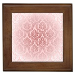 Luxury Pink Damask Framed Ceramic Tile by ADIStyle