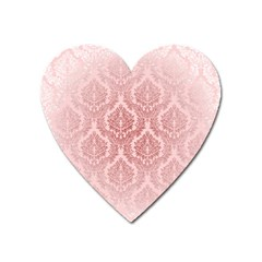 Luxury Pink Damask Magnet (heart) by ADIStyle