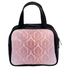 Luxury Pink Damask Classic Handbag (two Sides) by ADIStyle