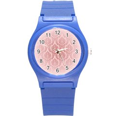 Luxury Pink Damask Plastic Sport Watch (small) by ADIStyle