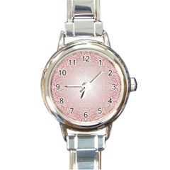 Pink Damask Round Italian Charm Watch by ADIStyle