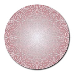 Pink Damask 8  Mouse Pad (round) by ADIStyle