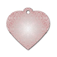 Pink Damask Dog Tag Heart (two Sided) by ADIStyle