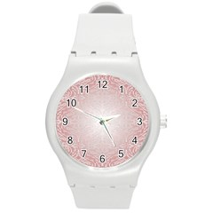 Pink Damask Plastic Sport Watch (medium) by ADIStyle