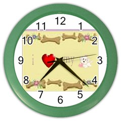 I Love My Dog! Ii Wall Clock (color) by mysticalimages