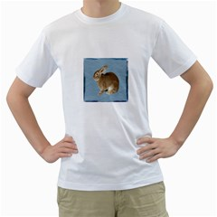 Cute Bunny Mens  T Shirt (white)