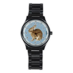 Cute Bunny Sport Metal Watch (black) by mysticalimages