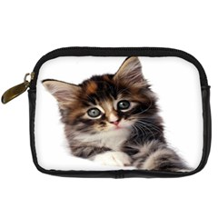 Curious Kitty Digital Camera Leather Case by mysticalimages