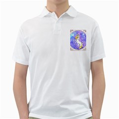 Framed Unicorn Mens  Polo Shirt (white) by mysticalimages