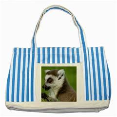 Ring Tailed Lemur  2 Blue Striped Tote Bag by smokeart