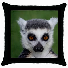 Ring Tailed Lemur Black Throw Pillow Case by smokeart