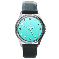 Celeste To Turquoise Gradient Round Metal Watch (silver Rim) by BestCustomGiftsForYou