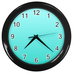 Celeste To Turquoise Gradient Wall Clock (black) by BestCustomGiftsForYou