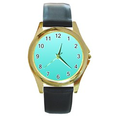 Celeste To Turquoise Gradient Round Metal Watch (gold Rim)  by BestCustomGiftsForYou