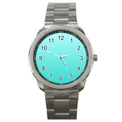Celeste To Turquoise Gradient Sport Metal Watch by BestCustomGiftsForYou