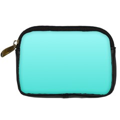 Celeste To Turquoise Gradient Digital Camera Leather Case by BestCustomGiftsForYou