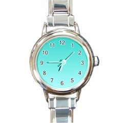 Turquoise To Celeste Gradient Round Italian Charm Watch by BestCustomGiftsForYou