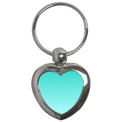 Turquoise To Celeste Gradient Key Chain (heart) by BestCustomGiftsForYou