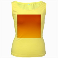 Mahogany To Amber Gradient Womens  Tank Top (yellow) by BestCustomGiftsForYou
