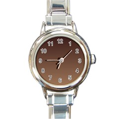 Seal Brown To Chamoisee Gradient Round Italian Charm Watch by BestCustomGiftsForYou