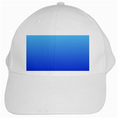 Electric Blue To Medium Blue Gradient White Baseball Cap by BestCustomGiftsForYou