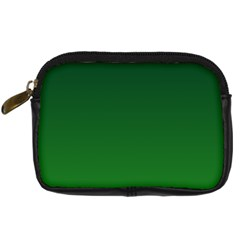 Dark Green To Green Gradient Digital Camera Leather Case by BestCustomGiftsForYou