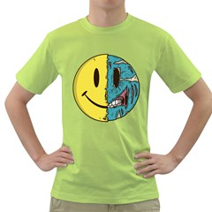 Smiley Two Face Mens  T Shirt (green) by Contest1714880