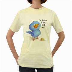 Angry Bird  Womens  T-shirt (yellow) by Contest1714697