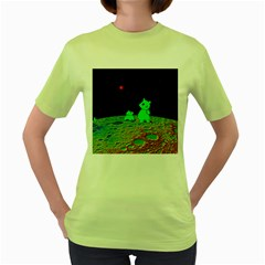 From Mars With Woof Womens  T Shirt (green)