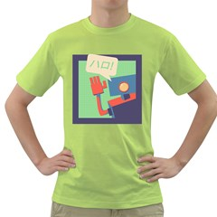 Hello! Mens  T Shirt (green)