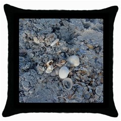 Sea Shells On The Shore Black Throw Pillow Case by createdbylk